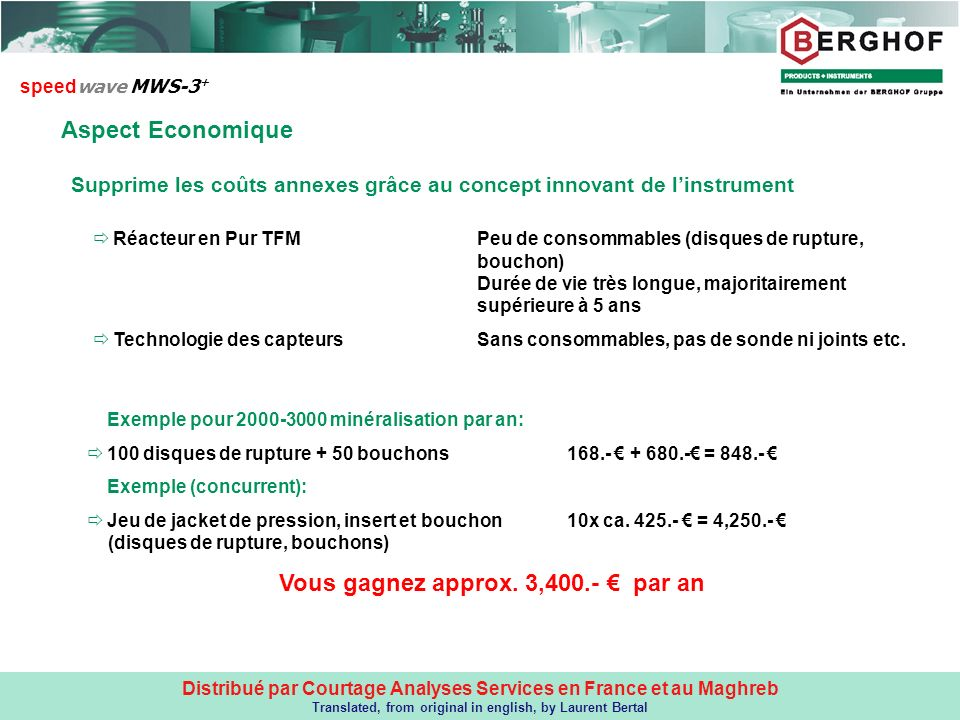 Distribué par Courtage Analyses Services en France et au Maghreb Translated, from original in english, by Laurent Bertal Aspect Economique speed wave