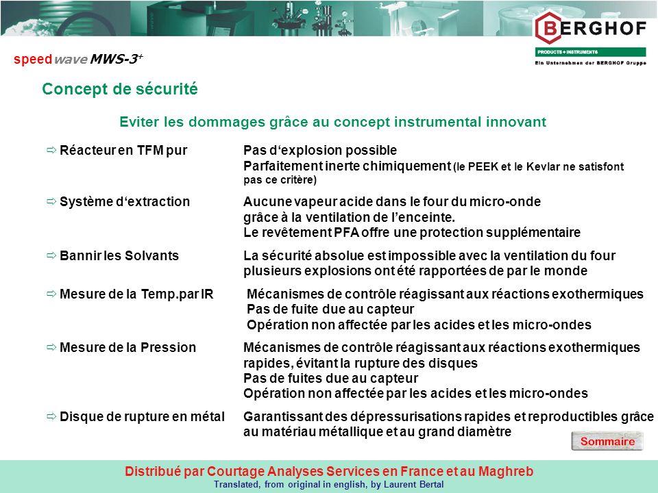 Distribué par Courtage Analyses Services en France et au Maghreb Translated, from original in english, by Laurent Bertal Concept de sécurité speed wav