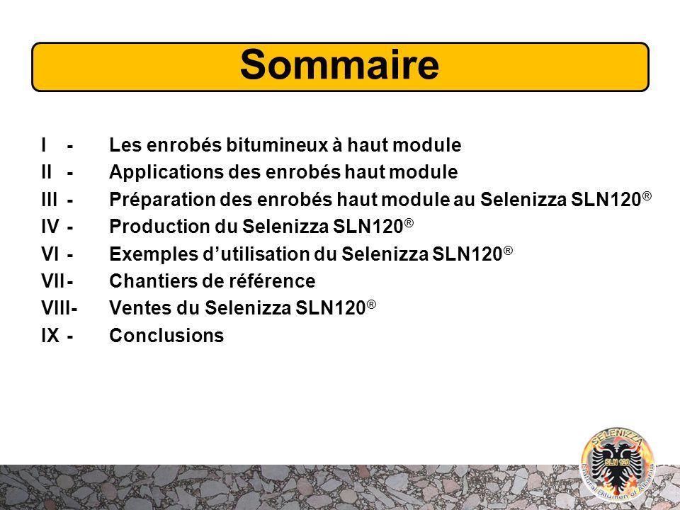 Sommaire I- Les enrobés bitumineux à haut module II - Applications des enrobés haut module III- Préparation des enrobés haut module au Selenizza SLN12