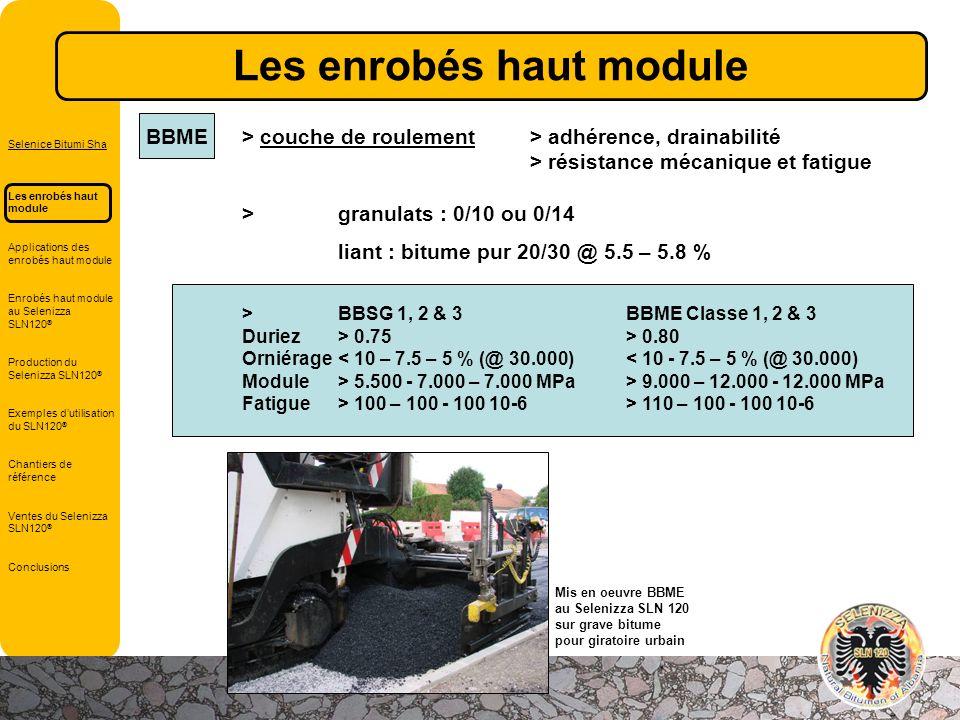 BBME> couche de roulement> adhérence, drainabilité > résistance mécanique et fatigue >granulats : 0/10 ou 0/14 liant : bitume pur 20/30 @ 5.5 – 5.8 %