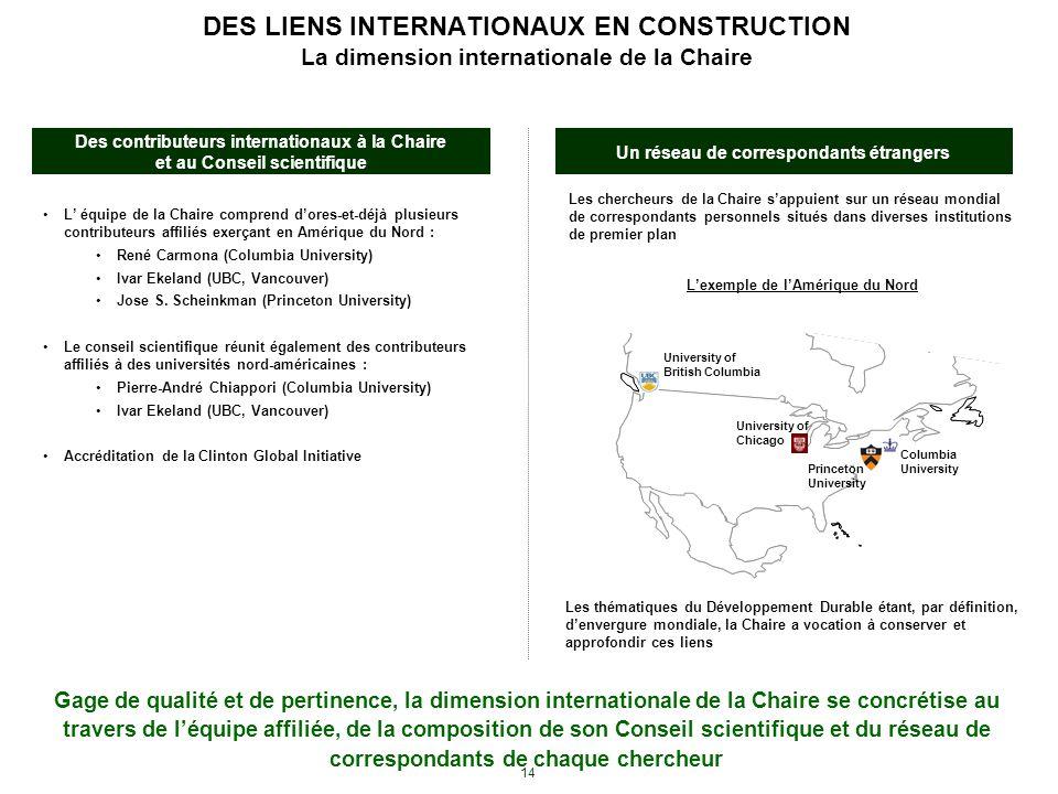 14 DES LIENS INTERNATIONAUX EN CONSTRUCTION La dimension internationale de la Chaire Les chercheurs de la Chaire sappuient sur un réseau mondial de co
