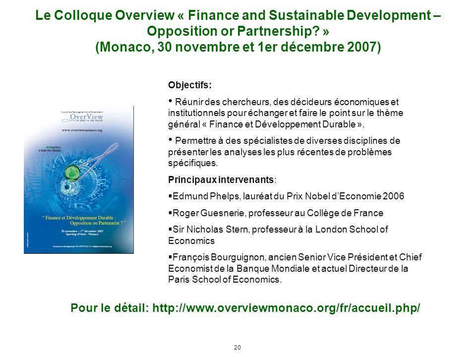 20 Le Colloque Overview « Finance and Sustainable Development – Opposition or Partnership? » (Monaco, 30 novembre et 1er décembre 2007) Pour le détail