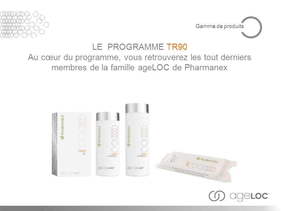 LE PROGRAMME TR90 Au cœur du programme, vous retrouverez les tout derniers membres de la famille ageLOC de Pharmanex Gamme de produits