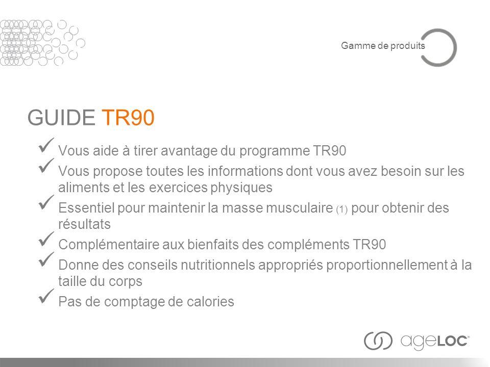 Vous aide à tirer avantage du programme TR90 Vous propose toutes les informations dont vous avez besoin sur les aliments et les exercices physiques Es