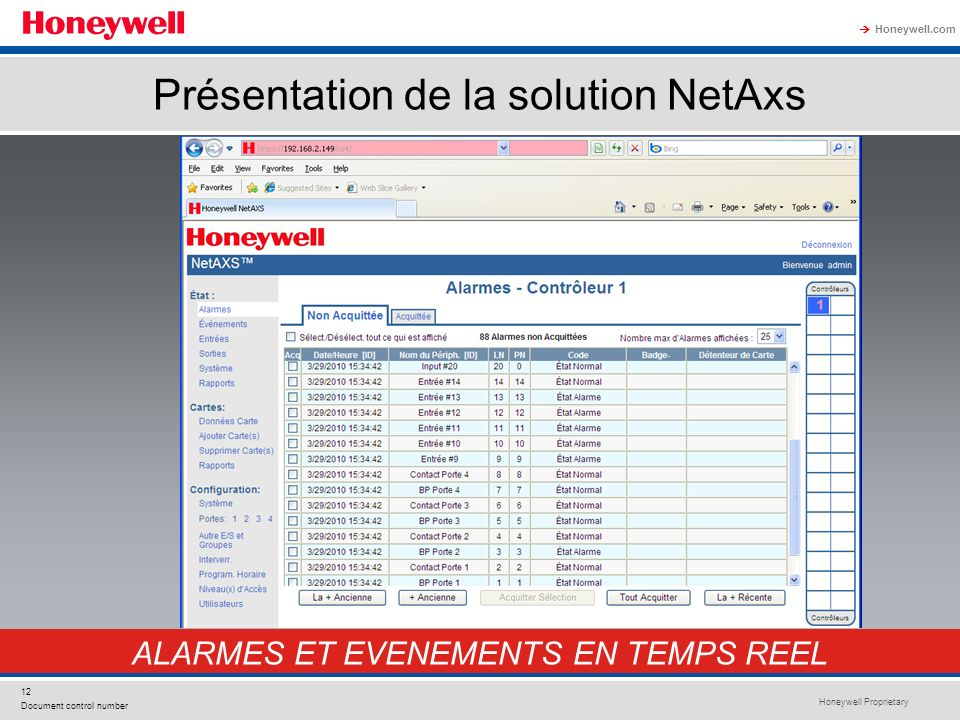Honeywell Proprietary Honeywell.com 12 Document control number Présentation de la solution NetAxs ALARMES ET EVENEMENTS EN TEMPS REEL