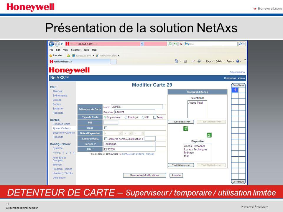 Honeywell Proprietary Honeywell.com 14 Document control number DETENTEUR DE CARTE – Superviseur / temporaire / utilisation limitée Présentation de la