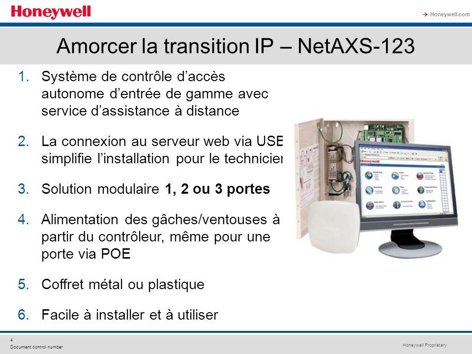 Honeywell Proprietary Honeywell.com 4 Document control number Amorcer la transition IP – NetAXS-123 1.Système de contrôle daccès autonome dentrée de g