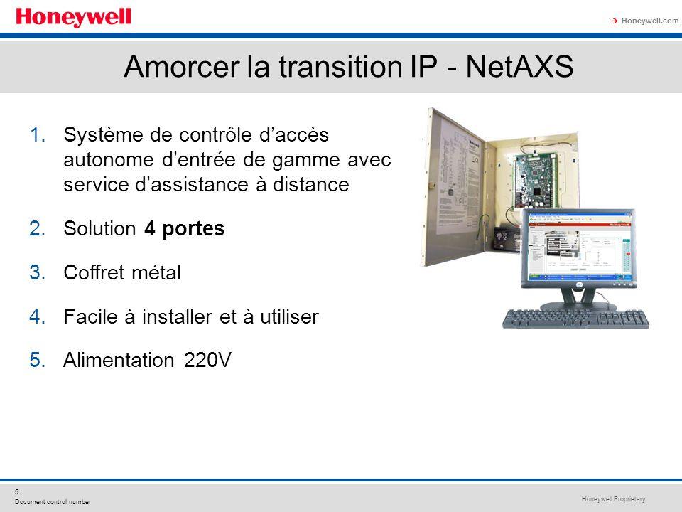Honeywell Proprietary Honeywell.com 5 Document control number Amorcer la transition IP - NetAXS 1.Système de contrôle daccès autonome dentrée de gamme