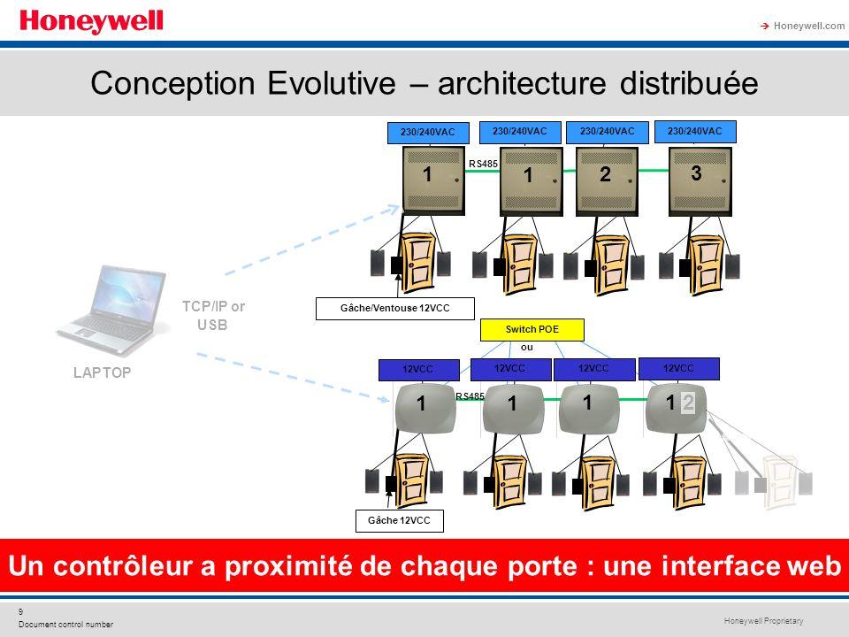 Honeywell Proprietary Honeywell.com 9 Document control number - Sans alimentation supplémentaire pour les ventouses Un contrôleur a proximité de chaqu