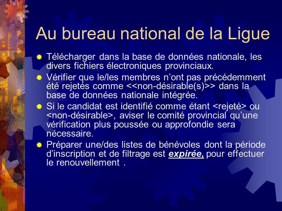 Au bureau national de la Ligue Télécharger dans la base de données nationale, les divers fichiers électroniques provinciaux.