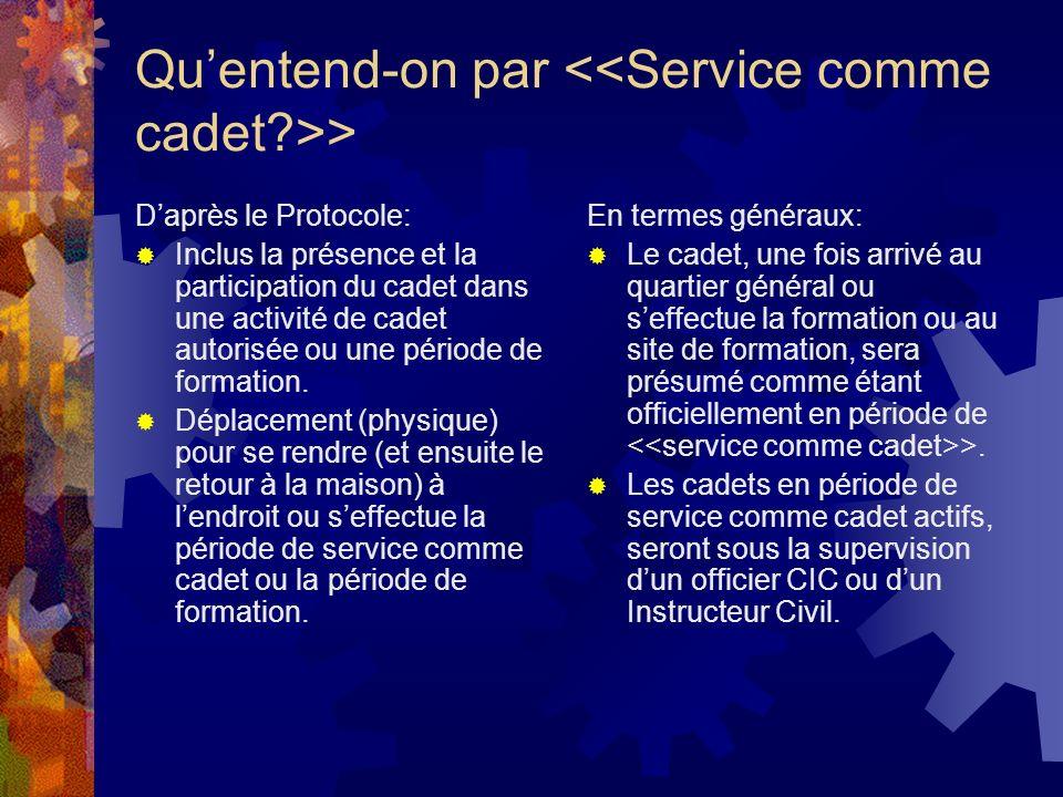 Quentend-on par > Daprès le Protocole: Inclus la présence et la participation du cadet dans une activité de cadet autorisée ou une période de formation.