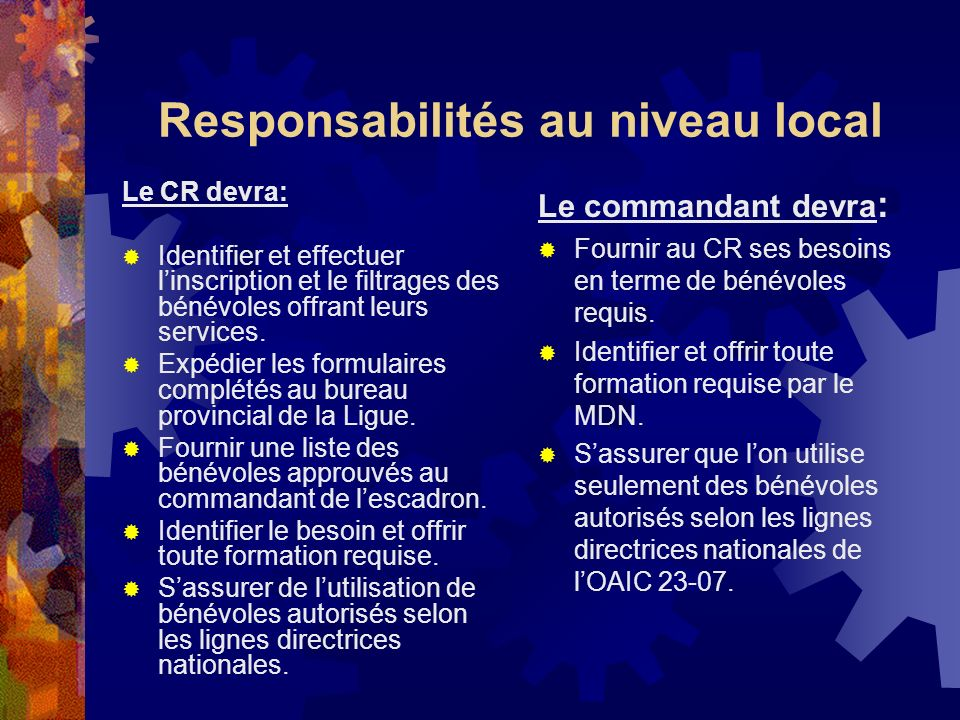 Responsibilités provinciales/régionales Le comité provincial devra: Vérifier les documents reçus, les résultats des procédures de filtrage et expédier linformation au bureau national de la Ligue.
