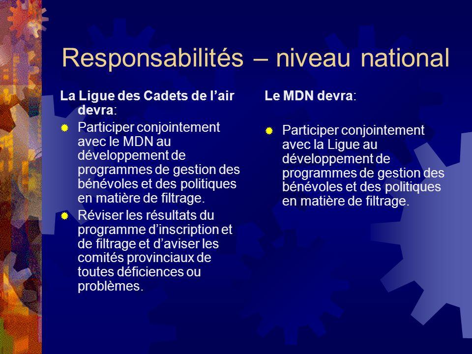 Responsabilités – niveau national La Ligue des Cadets de lair devra: Participer conjointement avec le MDN au développement de programmes de gestion des bénévoles et des politiques en matière de filtrage.