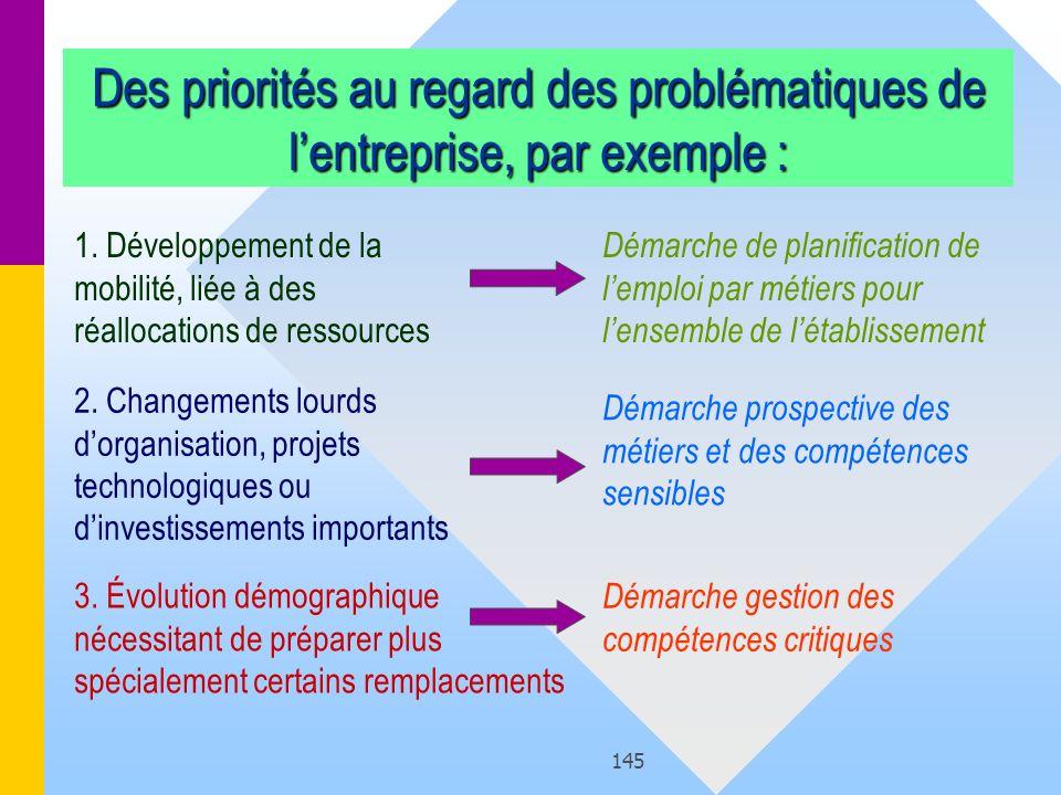 145 Des priorités au regard des problématiques de lentreprise, par exemple : 1. Développement de la mobilité, liée à des réallocations de ressources D