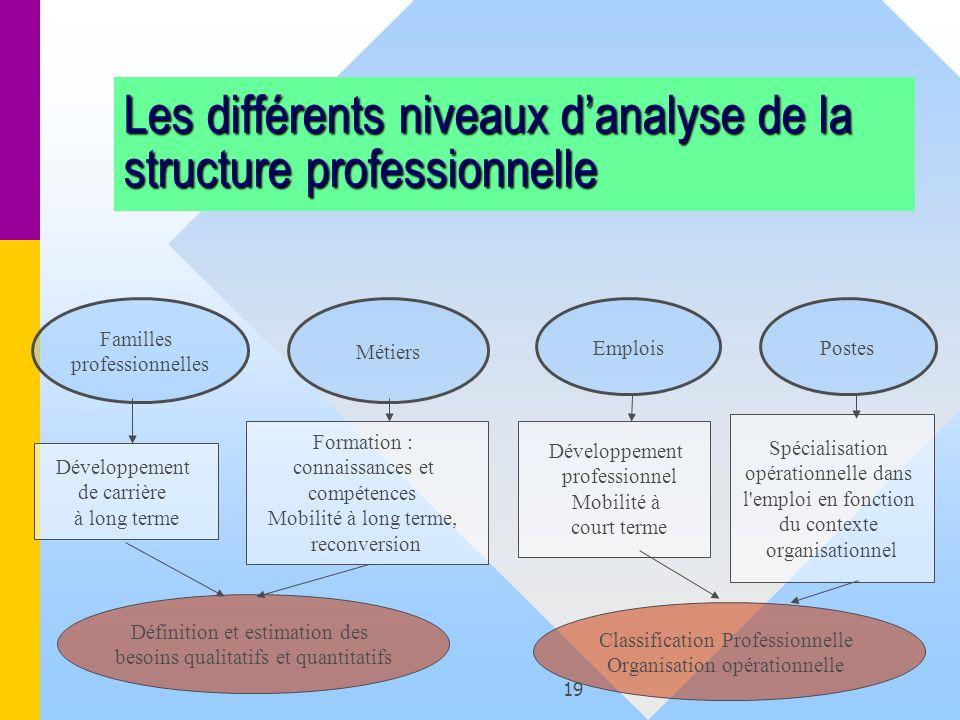 19 Les différents niveaux danalyse de la structure professionnelle Familles professionnelles Métiers Postes Développement de carrière à long terme Emp