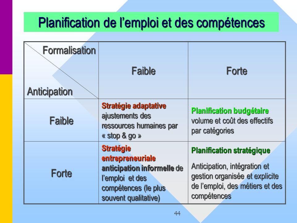 44 FormalisationAnticipation FaibleForte Faible Stratégie adaptative ajustements des ressources humaines par « stop & go » Planification budgétaire vo