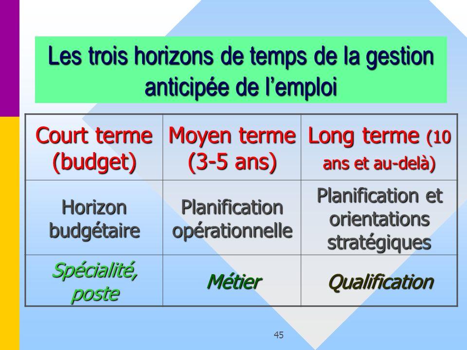 45 Les trois horizons de temps de la gestion anticipée de lemploi Court terme (budget) Moyen terme (3-5 ans) Long terme (10 ans et au-delà) Horizon bu