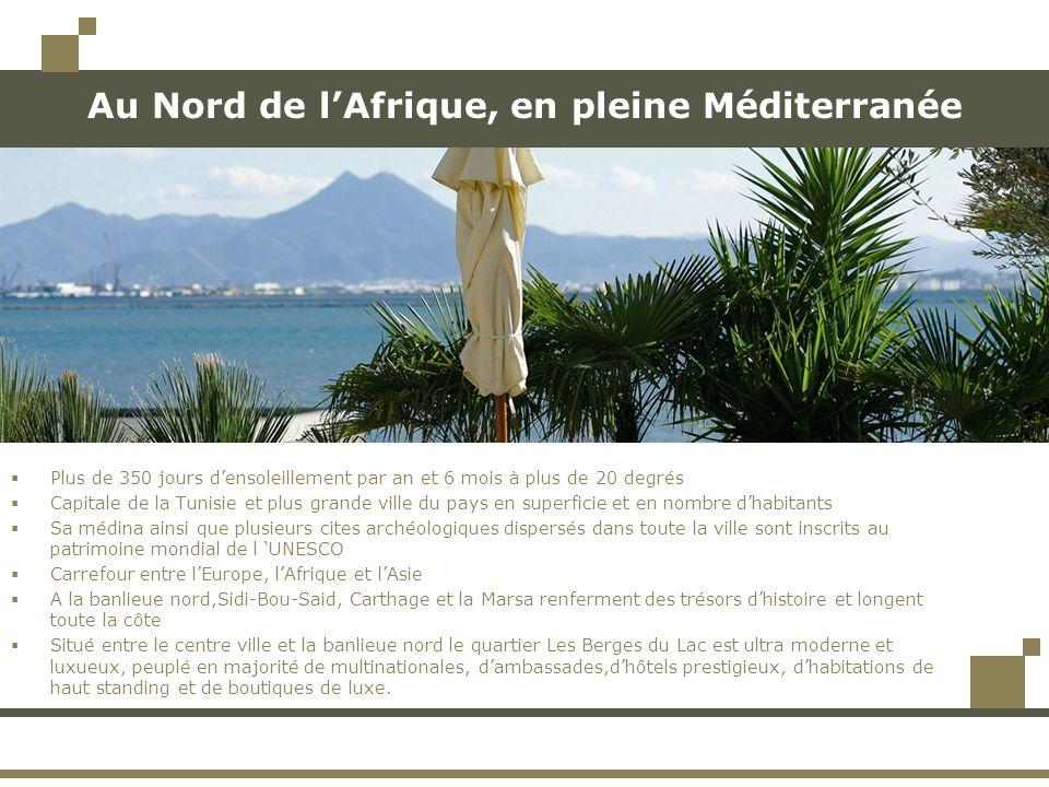 Au Nord de lAfrique, en pleine Méditerranée Plus de 350 jours densoleillement par an et 6 mois à plus de 20 degrés Capitale de la Tunisie et plus grande ville du pays en superficie et en nombre dhabitants Sa médina ainsi que plusieurs cites archéologiques dispersés dans toute la ville sont inscrits au patrimoine mondial de l UNESCO Carrefour entre lEurope, lAfrique et lAsie A la banlieue nord,Sidi-Bou-Said, Carthage et la Marsa renferment des trésors dhistoire et longent toute la côte Situé entre le centre ville et la banlieue nord le quartier Les Berges du Lac est ultra moderne et luxueux, peuplé en majorité de multinationales, dambassades,dhôtels prestigieux, dhabitations de haut standing et de boutiques de luxe.