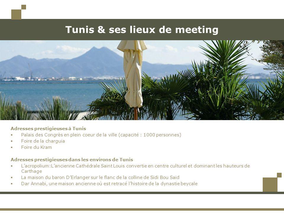 Tunis & ses lieux de meeting Adresses prestigieuses à Tunis Palais des Congrès en plein coeur de la ville (capacité : 1000 personnes) Foire de la char