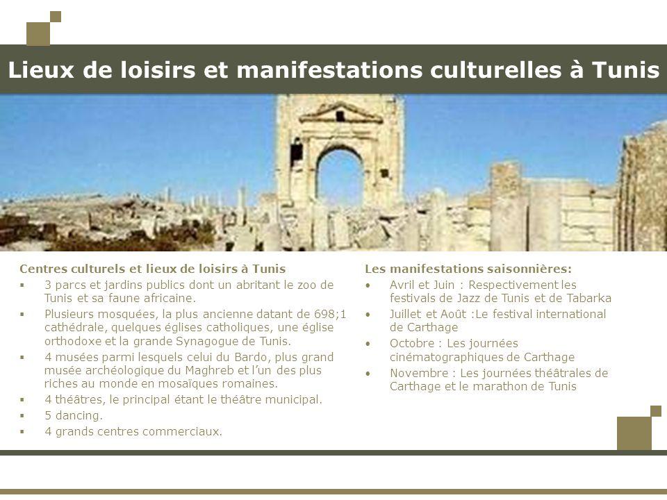 Lieux de loisirs et manifestations culturelles à Tunis Les manifestations saisonnières: Avril et Juin : Respectivement les festivals de Jazz de Tunis