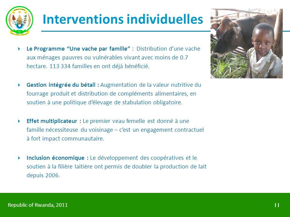 Republic of Rwanda, 2011 Interventions individuelles Le Programme Une vache par famille : Distribution dune vache aux ménages pauvres ou vulnérables v