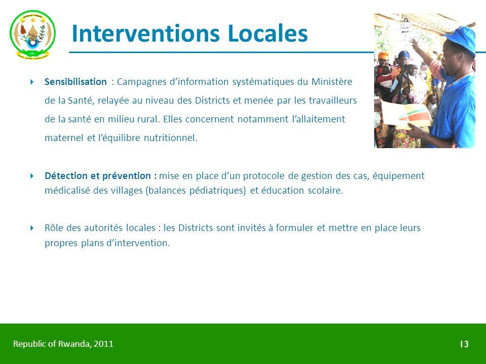 Republic of Rwanda, 2011 Interventions Locales Sensibilisation : Campagnes dinformation systématiques du Ministère de la Santé, relayée au niveau des