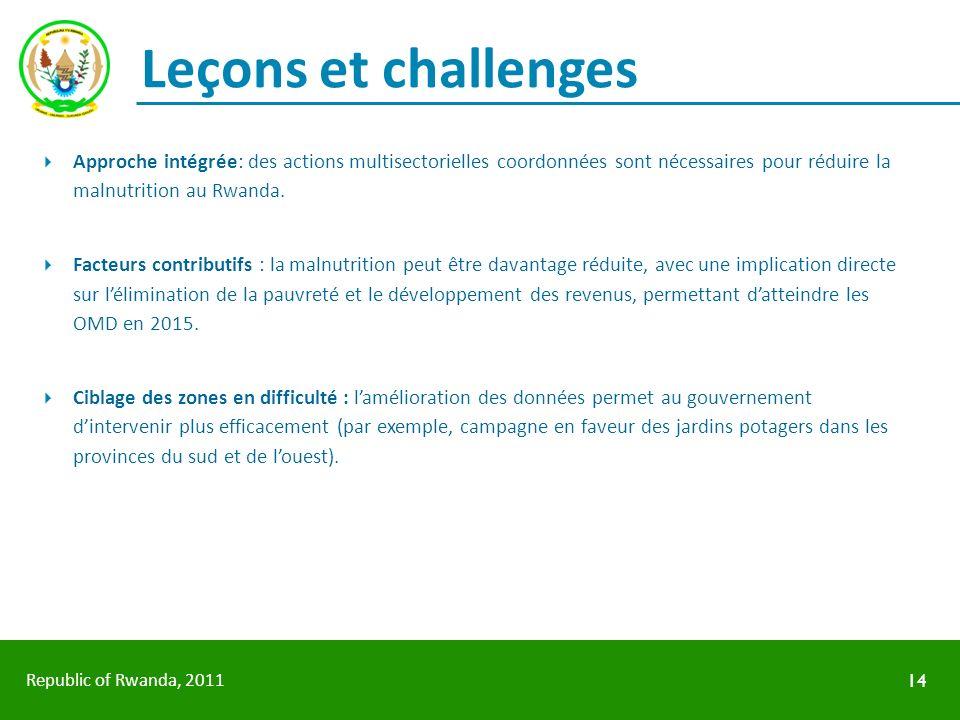 Republic of Rwanda, 2011 Leçons et challenges Approche intégrée: des actions multisectorielles coordonnées sont nécessaires pour réduire la malnutriti
