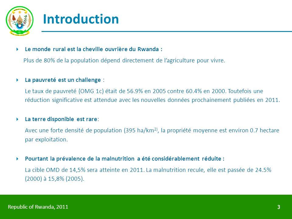 Republic of Rwanda, 2011 Introduction Le monde rural est la cheville ouvrière du Rwanda : Plus de 80% de la population dépend directement de lagricult