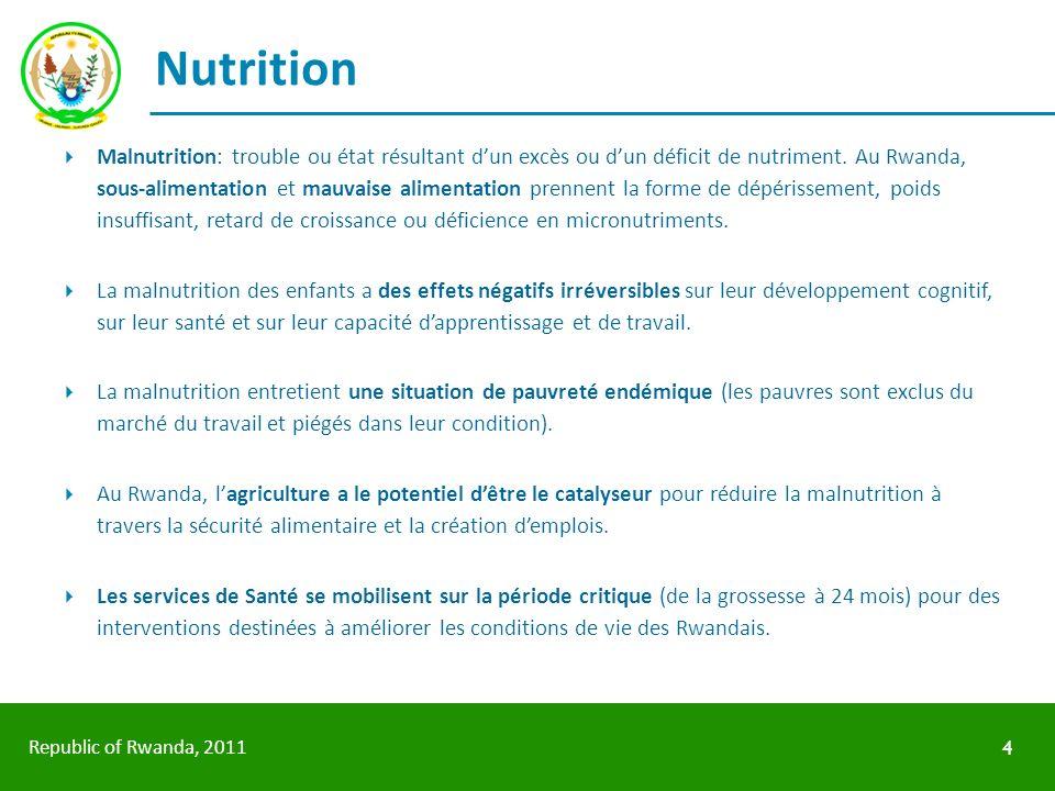 Republic of Rwanda, 2011 Nutrition Malnutrition: trouble ou état résultant dun excès ou dun déficit de nutriment. Au Rwanda, sous-alimentation et mauv