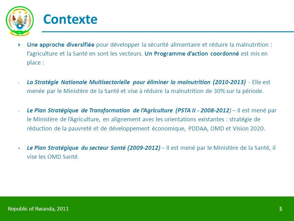 Republic of Rwanda, 2011 Contexte Une approche diversifiée pour développer la sécurité alimentaire et réduire la malnutrition : lagriculture et la San
