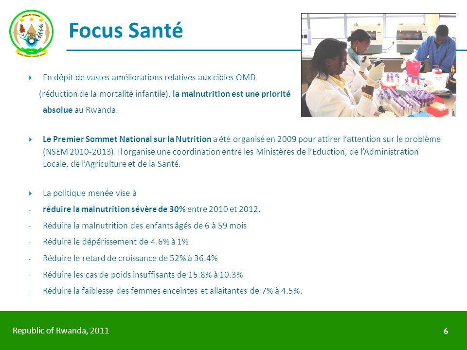 Republic of Rwanda, 2011 Focus Santé En dépit de vastes améliorations relatives aux cibles OMD (réduction de la mortalité infantile), la malnutrition