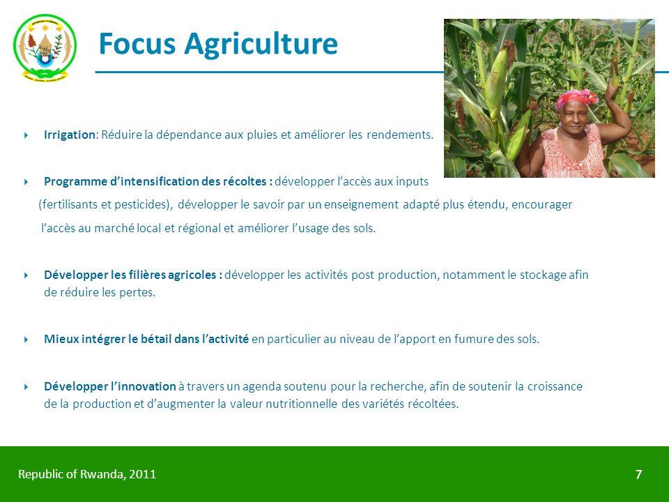 Republic of Rwanda, 2011 Focus Agriculture Irrigation: Réduire la dépendance aux pluies et améliorer les rendements. Programme dintensification des ré