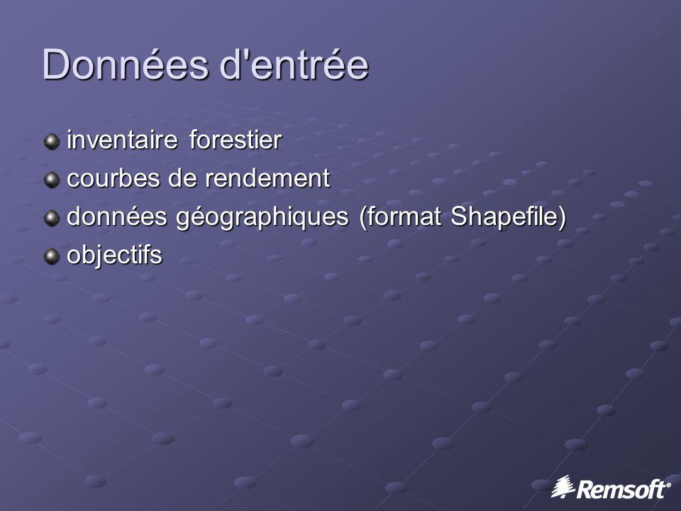 Données d entrée inventaire forestier courbes de rendement données géographiques (format Shapefile) objectifs
