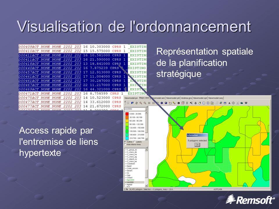 Visualisation de l ordonnancement Représentation spatiale de la planification stratégique Access rapide par l entremise de liens hypertexte