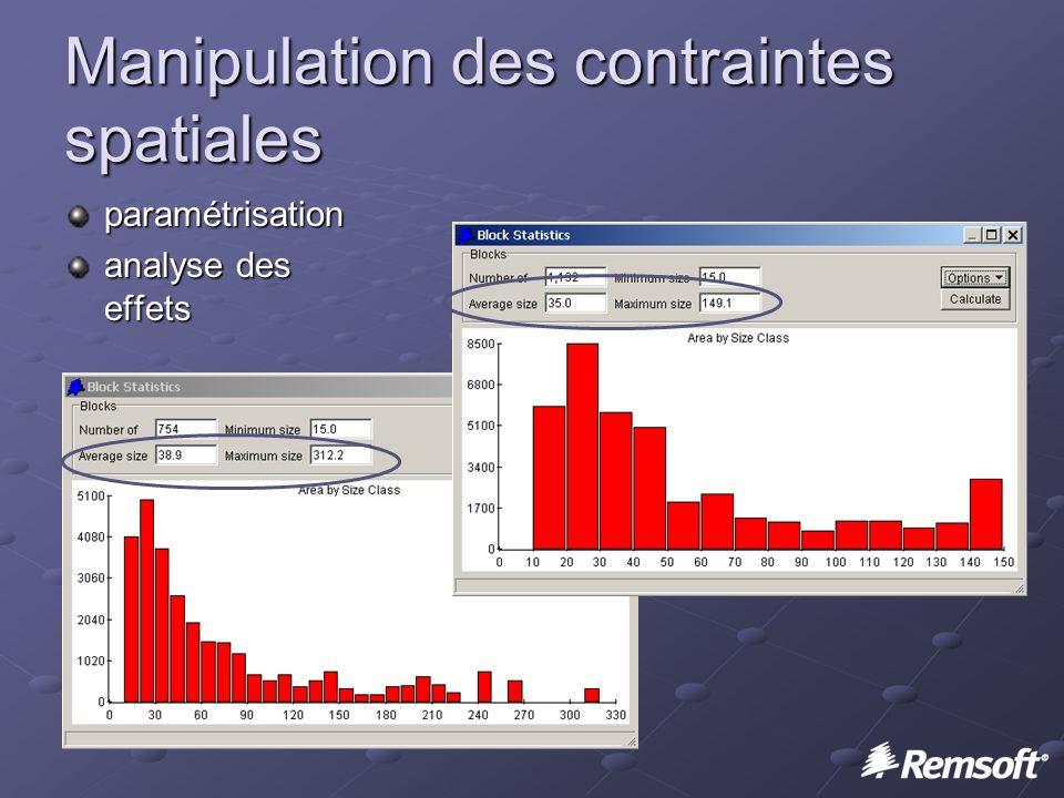 Manipulation des contraintes spatiales paramétrisation analyse des effets