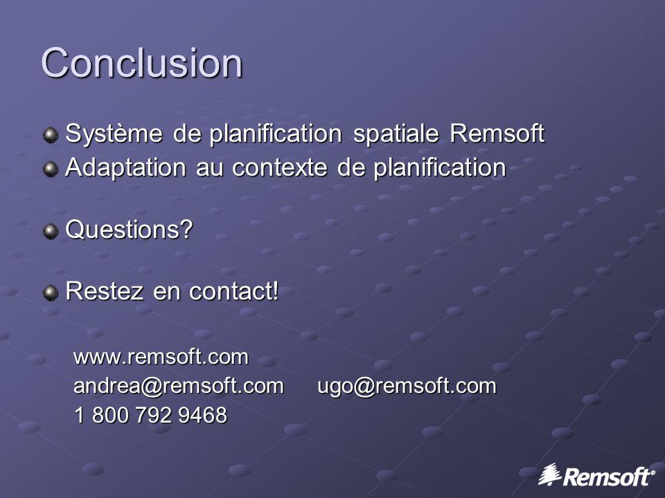 Conclusion Système de planification spatiale Remsoft Adaptation au contexte de planification Questions.