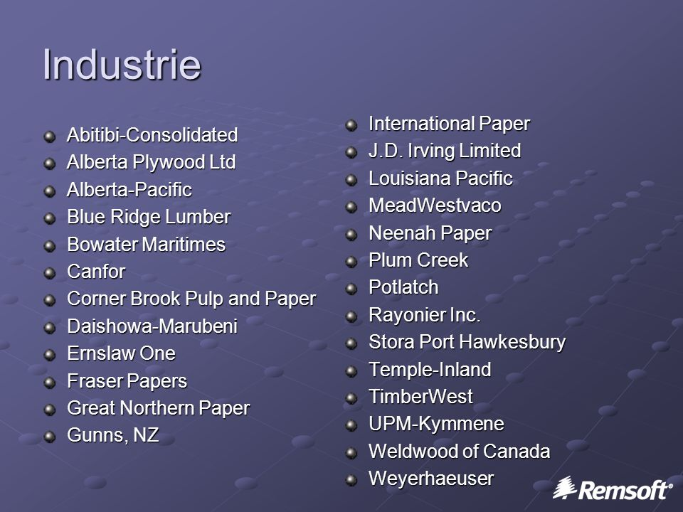 Industrie Abitibi-Consolidated Alberta Plywood Ltd Alberta-Pacific Blue Ridge Lumber Bowater Maritimes Canfor Corner Brook Pulp and Paper Daishowa-Marubeni Ernslaw One Fraser Papers Great Northern Paper Gunns, NZ International Paper J.D.