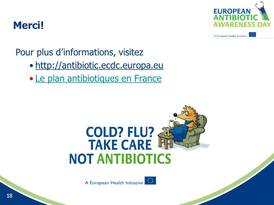 Merci! 18 Pour plus dinformations, visitez http://antibiotic.ecdc.europa.eu Le plan antibiotiques en France