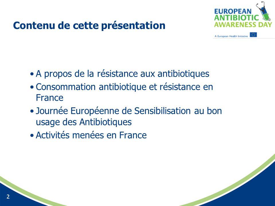 Contenu de cette présentation A propos de la résistance aux antibiotiques Consommation antibiotique et résistance en France Journée Européenne de Sens