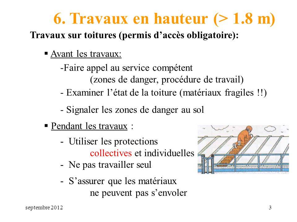 septembre 20123 6. Travaux en hauteur (> 1.8 m) Travaux sur toitures (permis daccès obligatoire): Avant les travaux: -Faire appel au service compétent