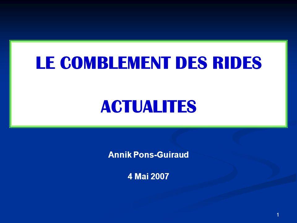 1 Annik Pons-Guiraud 4 Mai 2007 LE COMBLEMENT DES RIDES ACTUALITES