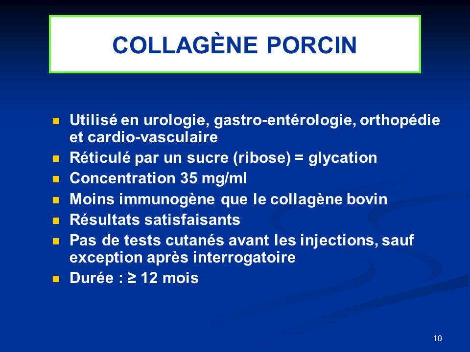 10 Utilisé en urologie, gastro-entérologie, orthopédie et cardio-vasculaire Réticulé par un sucre (ribose) = glycation Concentration 35 mg/ml Moins im