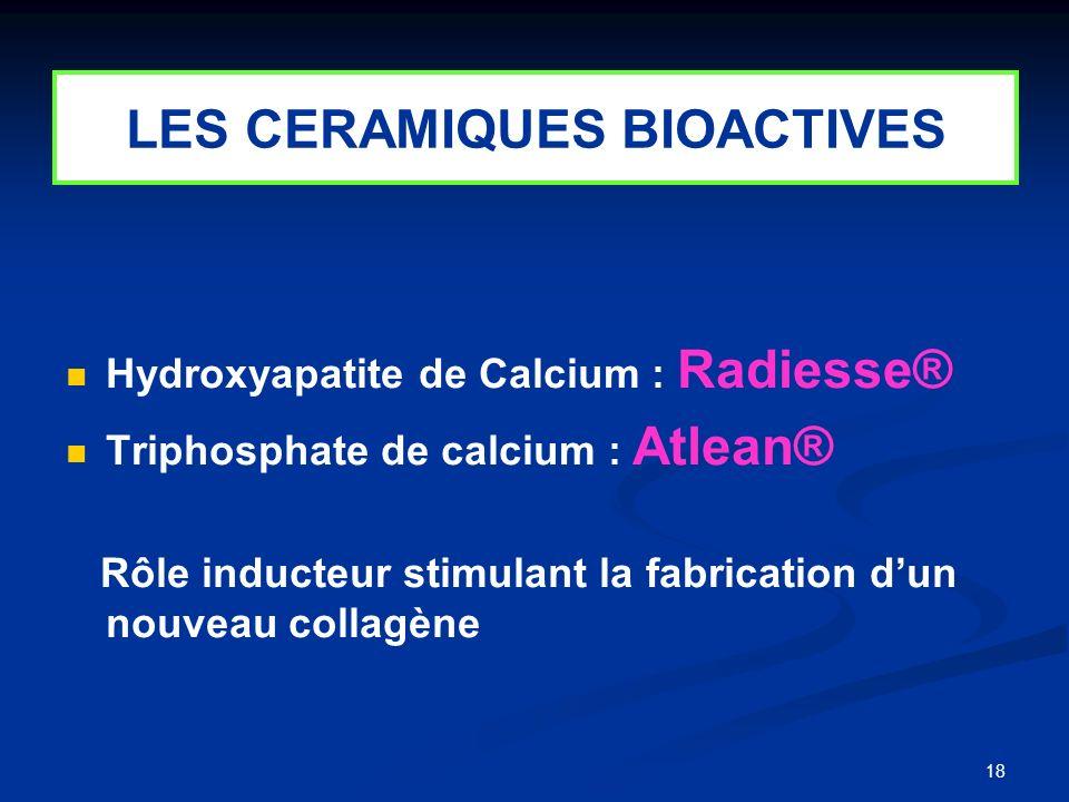 18 LES CERAMIQUES BIOACTIVES Hydroxyapatite de Calcium : Radiesse® Triphosphate de calcium : Atlean® Rôle inducteur stimulant la fabrication dun nouve