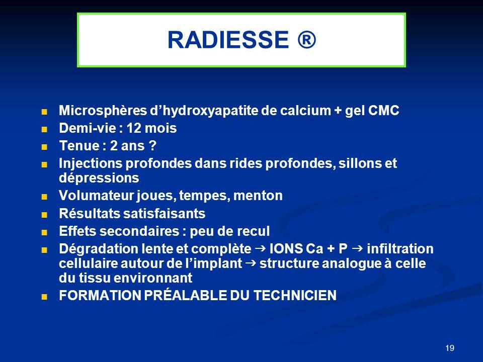 19 Microsphères dhydroxyapatite de calcium + gel CMC Demi-vie : 12 mois Tenue : 2 ans ? Injections profondes dans rides profondes, sillons et dépressi