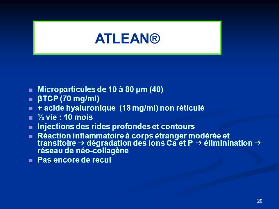 20 Microparticules de 10 à 80 µm (40) βTCP (70 mg/ml) + acide hyaluronique (18 mg/ml) non réticulé ½ vie : 10 mois Injections des rides profondes et c