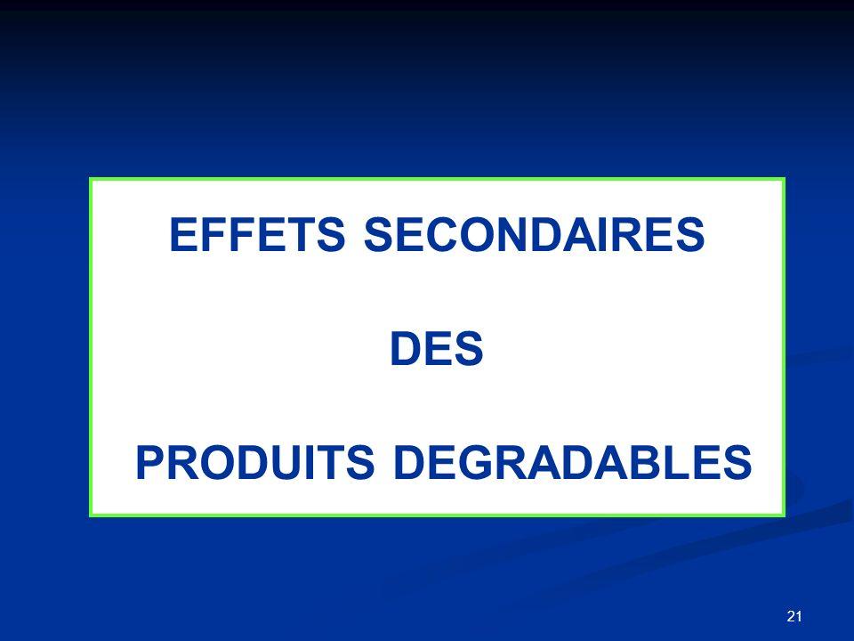 21 EFFETS SECONDAIRES DES PRODUITS DEGRADABLES