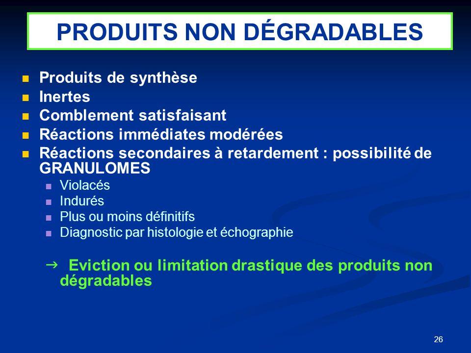 26 Produits de synthèse Inertes Comblement satisfaisant Réactions immédiates modérées Réactions secondaires à retardement : possibilité de GRANULOMES