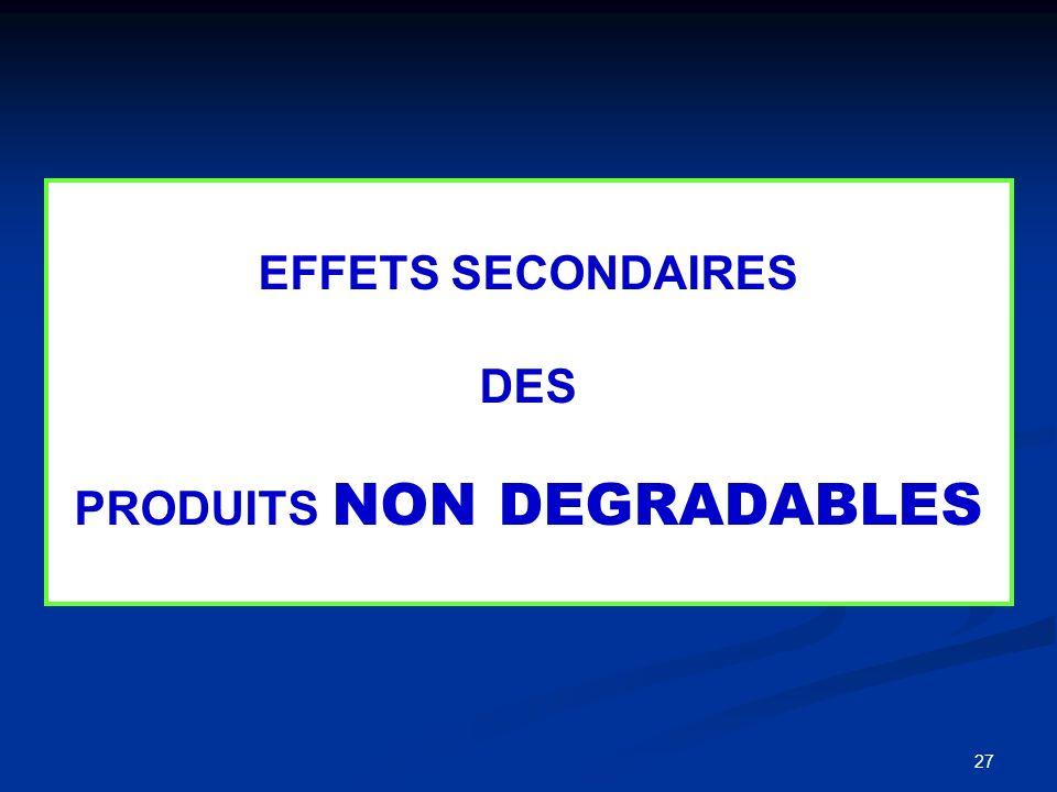27 EFFETS SECONDAIRES DES PRODUITS NON DEGRADABLES