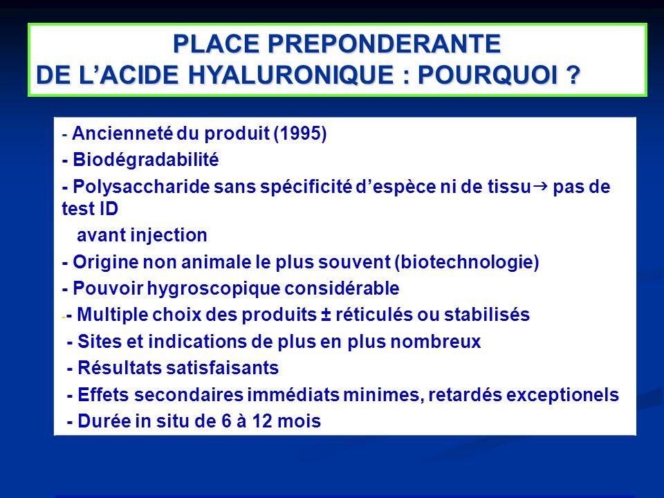 5 - Ancienneté du produit (1995) - Biodégradabilité - Polysaccharide sans spécificité despèce ni de tissu pas de test ID avant injection - Origine non