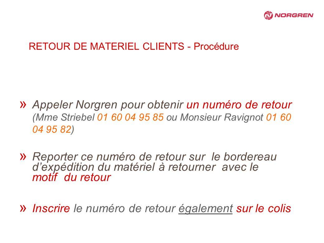 RETOUR DE MATERIEL CLIENTS - Procédure » Appeler Norgren pour obtenir un numéro de retour (Mme Striebel 01 60 04 95 85 ou Monsieur Ravignot 01 60 04 9